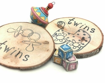 25 TWINS Baby Shower Favors Reclaimed Branch Table Markers Woodland Decor Arts Crafts Tags Magnets Business Card Table Decor