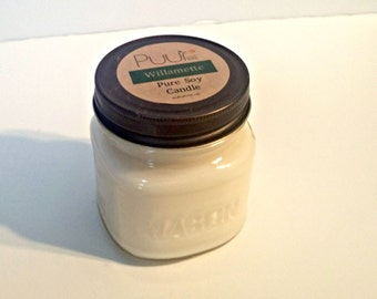 Willamette Soy Candle Mason Jar  8oz Vegan Candle Handpoured Pure Soy Rustic Western Woodsy Scent
