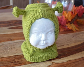 Child Knitted Shrek Hat, Coverall- Made to Order
