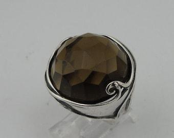 HADAR Israel Handmade  Large Round Smokey Topaz Sterling Silver Ring Size 7 (184)
