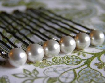 6 White 6mm Swarovski Crystal Pearl Hair Pins