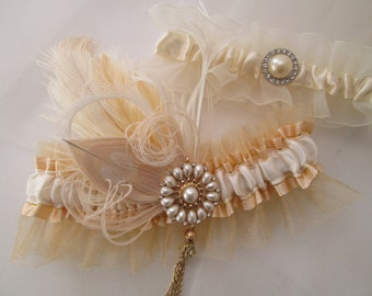 Wedding Garter Set, Gold & Ivory Pearl Garters, Gold Garter, Rustic Garter, Vintage Prom Garters, 20s Gatsby Bride