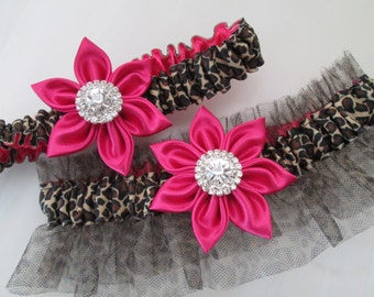 Hot Pink WEDDING Garter Set, Hot Pink Prom Garter, Leopard Bridal Garters, Fuchsia Pink Garter with Animal Print, Prom 2016