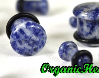 "Blue Lapis Single Flare Stone Plugs 8g-1/2"" (Sold as Pair) Handmade Body Jewelry Organic Plugs (8g, 6g,4g, 2g, 0g, 00g, 1/2"")"