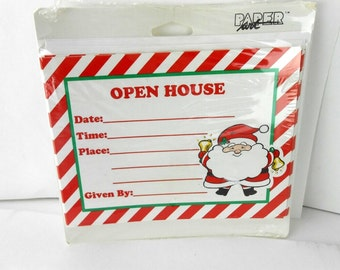 Vintage Christmas Open House invitations Christmas party invitations red and white Santa invites with envelopes new old stock 32 cards