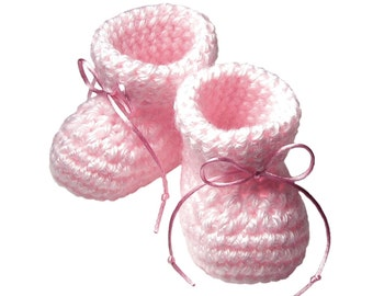 Pink Baby Booties, Crocheted Girl's Baby Bootie, Newborn Baby Slipper, Nursery Decor, New Mother Baby Shower Gift, Gift Boxed, Gender Reveal