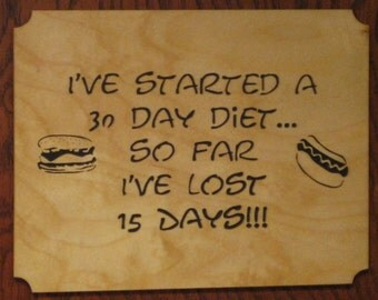 Fretwork Wooden Diet Plaque - Lose Weight - Funny,Whimsical - Home Decor - Wall Hanging - Scroll Saw Woodworking with Hot Dog & Hamburger
