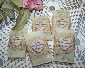From my shower to yours - rustic favors, 50 wedding favors, bridal shower favors soaps, Ivory lavender mini soaps, country chic soaps