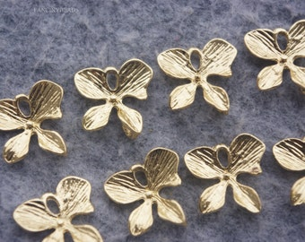 Wholesale-30 pcs four petal orchid -great connectors-F1095-for earrings necklace making