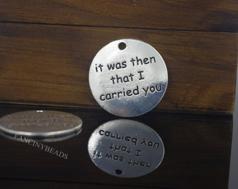It was then that I carried you-engraved circle charms 20 pcs bulksale-F1167