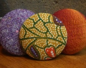 Set of Three Fabric Covered Button Pin/ Brooches in Orange, Purple and Yellow