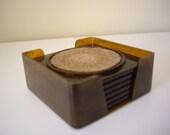 Vintage Georges Briard Retro Brown Plastic Cork drink bar Coasters