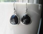 SALE // Black Sparkle Drop Earrings / Druzy Earrings / Everyday Casual / Lapis Lazuli / Black Druzy Earrings / Black Dangle Earrings