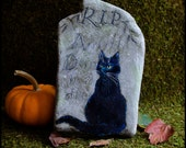 Original art, black cat, acrylic on rock painting, Halloween decoration