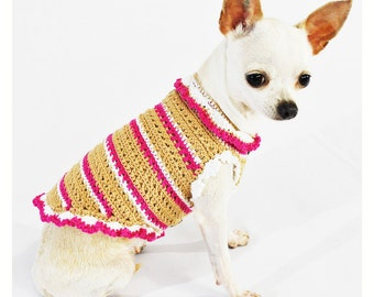 Beige Pink Dog Clothes Cotton with Button Cute Teacup Chihuahua Sweater Yorkie Pet Fashion DK969 Handmade Crochet Myknitt - Free Shipping