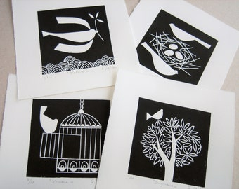 Set of 4 prints - Limited Edition of 10 - Birds - Original Linocuts Prints - Black and White Art - Rare - Hand Pulled Lino Block Prints