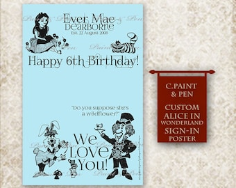 Alice in Wonderland Poster- Birthday Party Guest Sign-In Poster- Guest Register Sign- Girls Birthday Party Poster- Guestbook Alternative