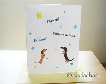 "Dachshund Congratulations Card - Single Card (4.25"" x 5.5"")"