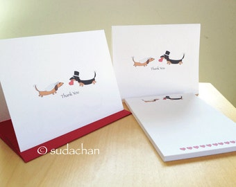Dachshund Bride Groom Cards and Personalized Notepad Set - Bridal Shower. Wedding. Engagement (10 cards, 1 notepad)