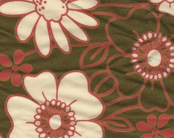 Robert Kaufman Floral Khaki and Orange Cotton Fabric 2 yards