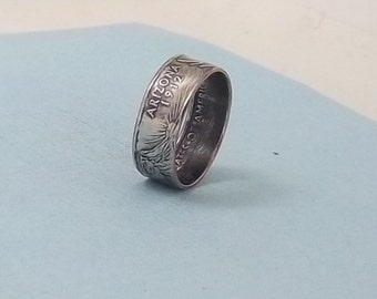 Copper-Nickel coin ring Arizona State quarter year 2008 size 8 1/2,  jewelry unique statehood gift FREE SHIPPING