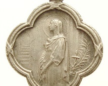 Saint Philomena & Blessed JBM Vianney the Priest of ARS Vintage Religious Medal Pendant on 18 inch sterling silver rolo chain