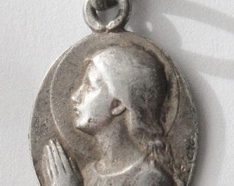 """Virgin Mary Vintage Silver Religious Medal Pendant on 18"""" sterling silver rolo chain"""