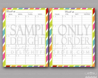 Colorful - A Peek Into My Month -  (2) PDF Printable Files - Instant Digital Download