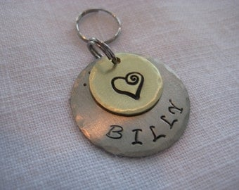 Pet Tag- Hand Stamped Whimsical Heart Charm on Hammered Disc