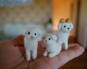 Felt lamb miniature, sheep and ram miniature, mama sheep ram and baby lamb miniature, cake topper