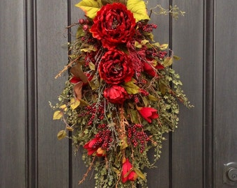 "Spring Summer Fall Wreath Gift Twig Teardrop Vertical Swag Door Decor...Use All Year Round..""XL Romantic Red"" Red Peony Floral Swag"