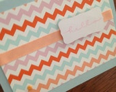 ON SALE a little hello chevron note cards in pale pink, orange, dark orange, pale aqua