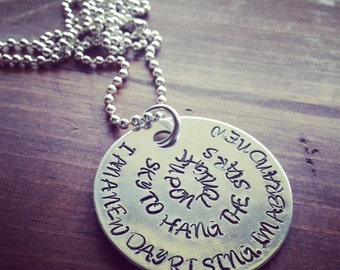 Hand Stamped Aluminum Necklace with Foo Fighters Quote