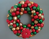 """Christmas Wreath 19.5""""-RED & GREEN  and GOLD Christmas Ornament Wreath"""