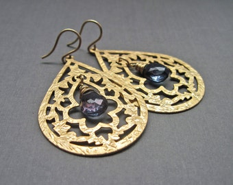 Navy Blue Quartz Gemstone Earrings, Gold Dangle Earrings, Quartz Jewelry, Blue Quartz Gemstone Gold Hoop Earrings