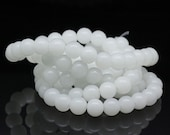 Beads : 80 pieces 4mm Milk White Round Glass Beads (12-inch strand) -- 4.26