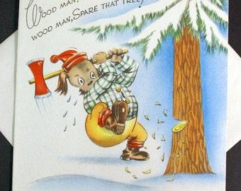 1940s Vintage Woodman Christmas Card UNUSED