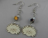 White Resin Cat Face and Grey Czech Bead Silver Dangle Earrings