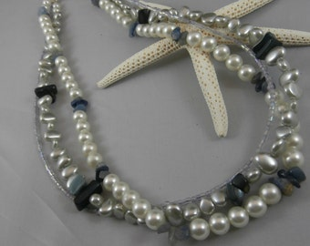 3 Strand Pearl and Blue Shell Necklace