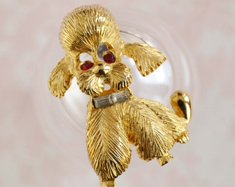 Vintage Puppy and Rhinestone Brooch by Pell