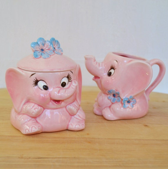 Vintage Elephant Cream and Sugar Set by Lefton