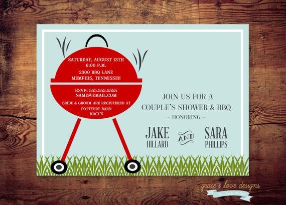 Printable BBQ Engagement Couples Shower or Handyman / Tool Shower Invites (digital file) DIY Printing at home or your choice of printer