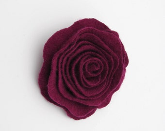 Felted Wool Rose Brooch Deep Radiant Orchid Cashmere Flower Pin