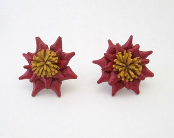 Vintage Holiday Poinsettia Earrings / Pierced Handcrafted Leather 1970s OOAK