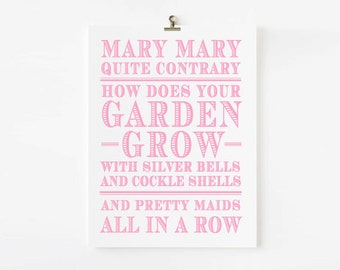 Mary Mary Quite Contrary Nursery Rhyme Wall Art // Children's Art Print // kids wall art // Children's nursery art // Nursery Rhyme Wall art