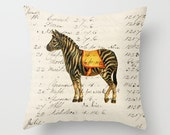 Throw Pillow Cover - Circus Zebra - 16x16, 18x18, 20x20 - Pillow case Original Design Home Décor by Adidit