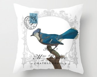 Throw Pillow Cover - Blue Bird in a Frame Vintage French Ephemera - 16x16, 18x18, 20x20 - Pillow case Original Design Home Décor by Adidit