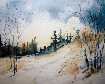 Popular Items For Winter Watercolor On Etsy