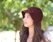 Brown hat, vintage Knit Hat, Knit Cap , Clothing Accessory