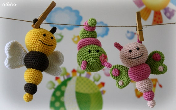 PATTERN - Bug rattles - Butterfly, Bee and Caterpillar (crochet, amigurumi)